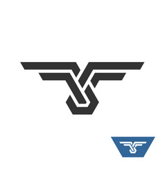 knot geometric logo with wings vector image