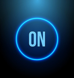 Neon circle button with blue light vector
