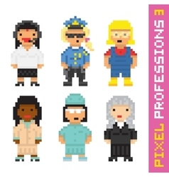Pixel art style professions set 3 vector image vector image