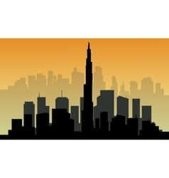 Silhouette of big Dubai city vector image