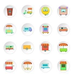 Street food kiosk vehicle icons set vector image vector image