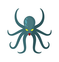 Angry Octopus Horrible sea monster with tentacles vector image vector image