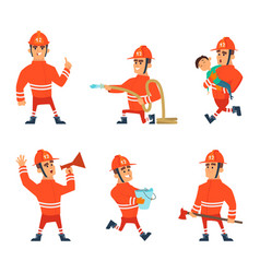cartoon characters of firefighters in action poses vector image