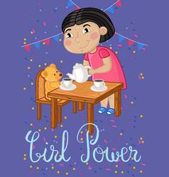 girl power kids postcard template vector image