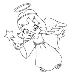 outlined christmas angel vector image vector image