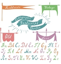 Set of calligraphic handdrawn font and banners vector image