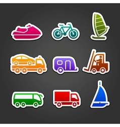 Set simple stickers color transport vector image vector image