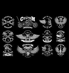 set with 12 vintage biker on dark background vector image