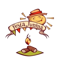 Brazilian Festa Junina Party banner with sun vector image
