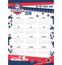 calendar 2018 for soccer or football vector image vector image