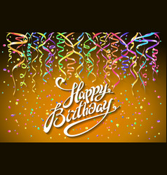 happy birthday greeting card with confetti on vector image vector image