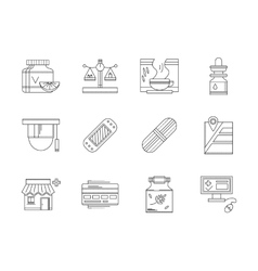 Pharmacy flat line icons set vector image vector image