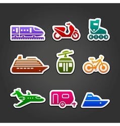 Set simple transportation color icons vector image