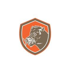 Wild Boar Razorback Head Side Shield Retro vector image vector image