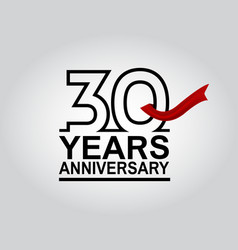 30 years anniversary logotype with black outline vector