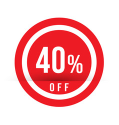 40 percent off - red sale stamp - special offer vector image