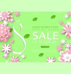 8 march happy womens day sale banner beautiful vector image vector image