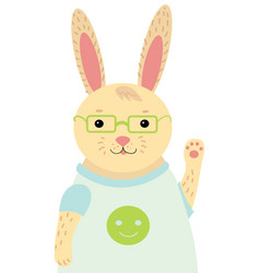 a cartoon portrait a hare stylized happy vector image