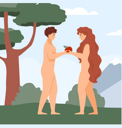 Adam and eve in paradise under tree flat vector