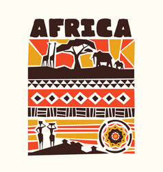Africa animals and tribal art vector