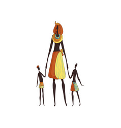 African woman mother with children on white vector