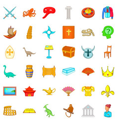 ancient world icons set cartoon style vector image
