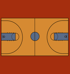 basketball court on white background vector image