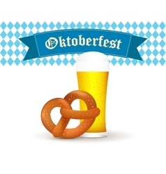 Bavarian beer mug with pretzel isolated on white vector