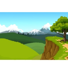 Beauty mountain cliff with landscape background vector