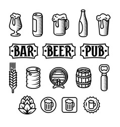 Beer icon set engraved style beer vector