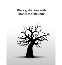 Black gothic tree with branches silhouette vector