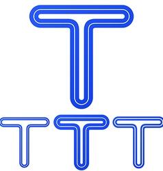 Blue line t logo design set vector