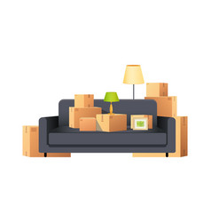 Box carton parcels packs with sofa and lamp vector