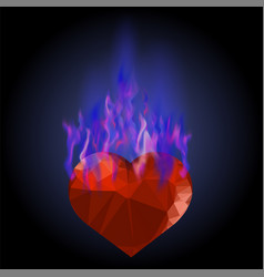 Burning heart with blue fire flame vector