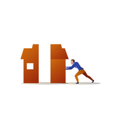 businessman pushing half house each other problem vector image
