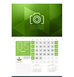 Calendar for 2016 Year May Design Clean Template vector