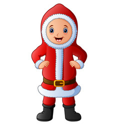 Cartoon boy in red santa costume vector