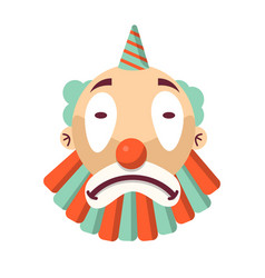 Cartoon unhappy clown face isolated on white sad vector