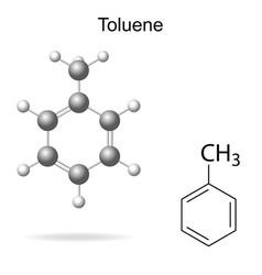 Chemical formula and model of toluene vector