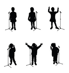 child with microphone singing black silhouette vector image