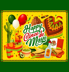 Cinco de mayo pinata mexican food and drink vector