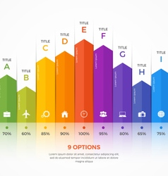 Column chart infographic template 9 options vector