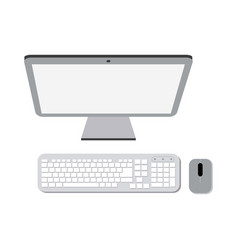 computer with keyboard and mouse vector image