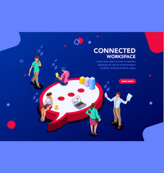 connected people isometric vector image