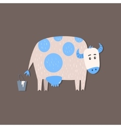 Cow And A Bucket Of Milk Image vector image