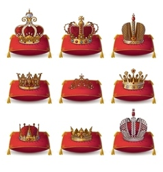 Crowns Of Kings And Queen Collection vector image