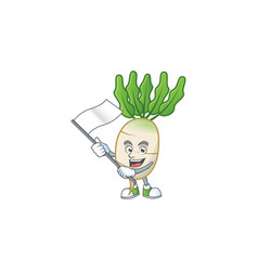 Cute daikon cartoon character design holding a vector