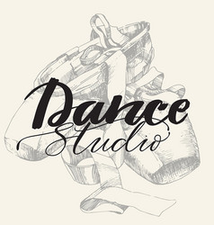 dance studio logo with young ballerina vector image