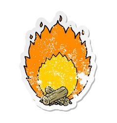 Distressed sticker of a cartoon blazing camp fire vector