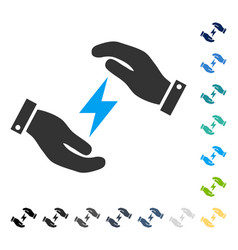 Electricity care hands icon vector
